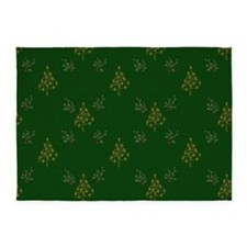 Gold Christmas Trees And Holly 5'X7'area Rug