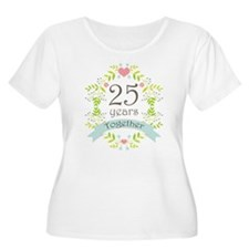 25th Anniversary flowers and hearts Plus Size T-Sh