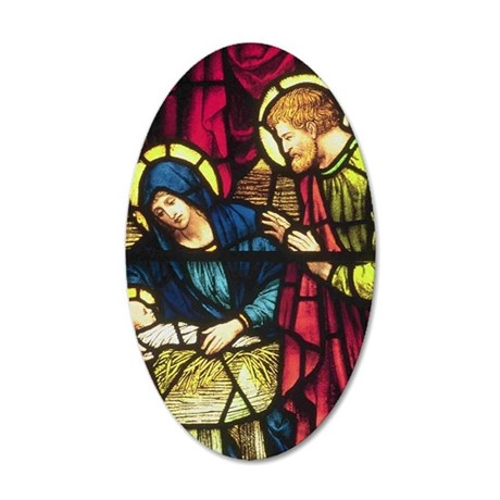 Stained Glass Nativity 35x21 Oval Wall Decal
