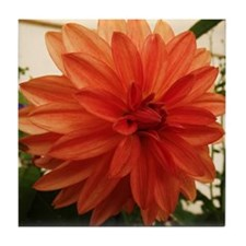 Orange Dahlia Tile Coaster
