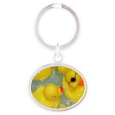 Rubber Ducky Oval Keychain