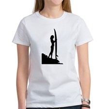 surfer surf sea wave sport beach girl T-Shirt