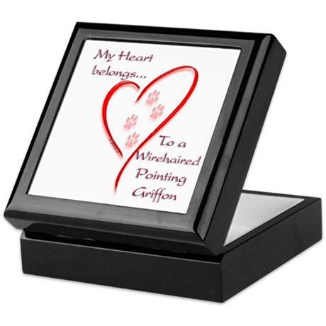 Pointing Griffon Heart Belongs Keepsake Box