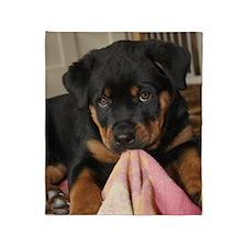 Rottweiller Puppy Throw Blanket