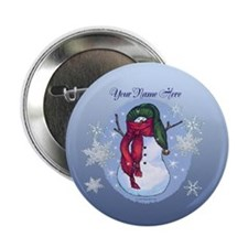 Snowman Green Hat Blue 2.25&Quot; Button (10 Pack)