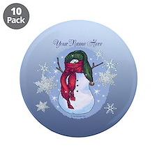 Snowman Green Hat Blue 3.5&Quot; Button (10 Pack)