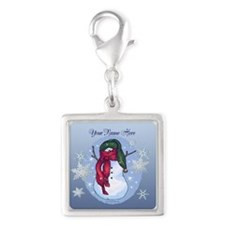 Snowman Green Hat Blue Charms