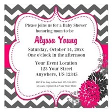 Gray Pink Chevron Invite 5.25 X 5.25 Flat Cards