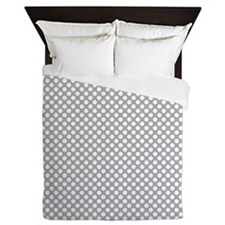 Grey and White Polka Dots Queen Duvet