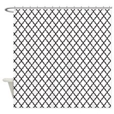 White Quatrefoil Shower Curtain