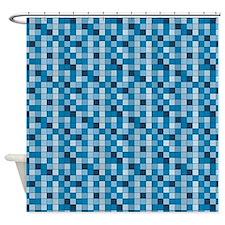 Blue Mini Tile Shower Curtain