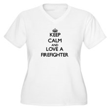 Keep Calm and Love a Firefighter Plus Size T-Shirt