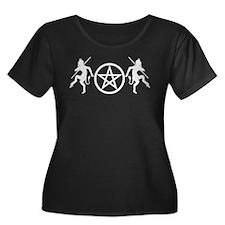 Pentacle Pan Lrg on Drk Plus Size T-Shirt