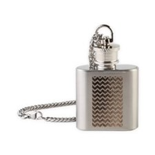 Glitter Bling Sparkly Chevron Patte Flask Necklace