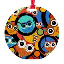 Juleez Pop Art Owls Colorful Holiday Ornament
