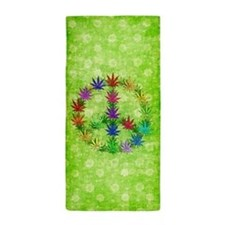 Rainbow Peace Marijuana Leaf Art Beach Towel