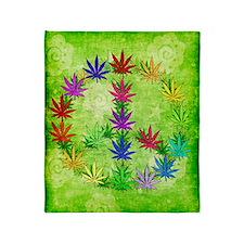 Rainbow Peace Marijuana Leaf Art Throw Blanket