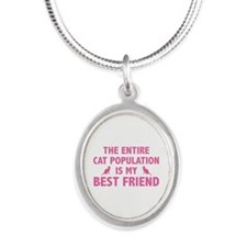 Cat Population Silver Oval Necklace