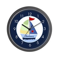 Navy Sailboat Nautical Wall Clock - Add A Name