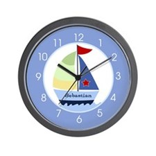 Nautical Sailboat Wall Clock - Add A Name