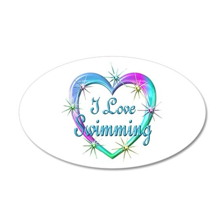 I Love Swimming 20x12 Oval Wall Decal