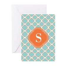 Quatrefoil Turquoise White and Orange Greeting Car