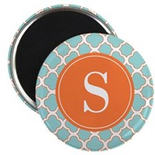 Quatrefoil Turquoise White Orange with Monogram Ma