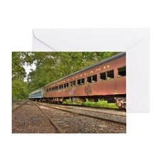 Classic Train Cars Greeting Card