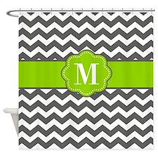 Gray Lime Green Chevron Shower Curtain