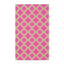 Quatrefoil Pattern Pink and Lime Green 3'x5' Area