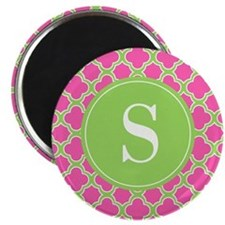 Quatrefoil Pink and Lime Green with Monogram Magne
