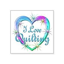 "I Love Quilting Square Sticker 3"" x 3"""