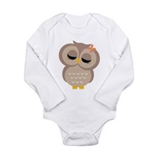 Single Girl Owl Long Sleeve Infant Bodysuit