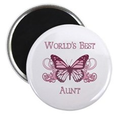 """World's Best Aunt (Butterfly) 2.25"""" Magnet (10 pac"""