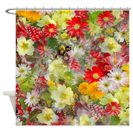 Red And Yellow Spring Flowers Shower Curtain By Graphicallusions
