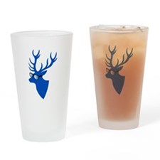 Blue Christmas deer with nerd glasses Drinking Gla