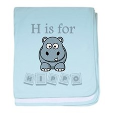 H Is For Hippo baby blanket