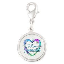 I Love Gymnastics Silver Round Charm