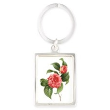 Vintage Flowers Camellias by Red Portrait Keychain