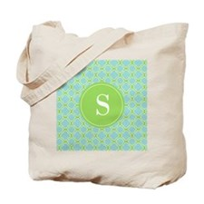 Quatrefoil Aqua Blue Green with Monogram Tote Bag