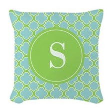 Quatrefoil Aqua Blue Green with Monogram Woven Thr