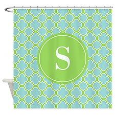 Quatrefoil Aqua Blue Green with Monogram Shower Cu
