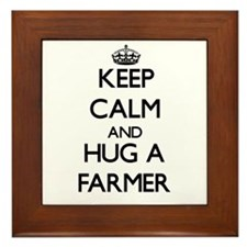 Keep Calm and Hug a Farmer Framed Tile