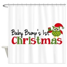 Baby Bump's 1st Christmas Owl Shower Curtain