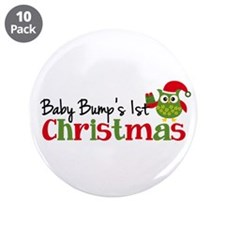 """Baby Bump's 1st Christmas Owl 3.5"""" Button (10 pack"""