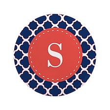Quatrefoil Navy Blue White Red Custom Monogram 3.5