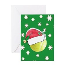 Christmas Tennis Ball With Santa Hat Greeting Card