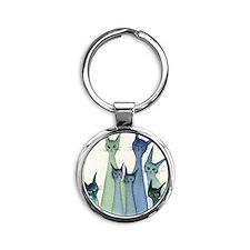 blue green hilo Round Keychain