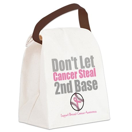 Dont Let Cancer Steal 2nd Base Canvas Lunch Bag