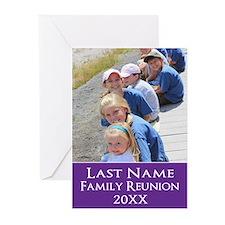 Family Reunion Photo Purple Greeting Cards